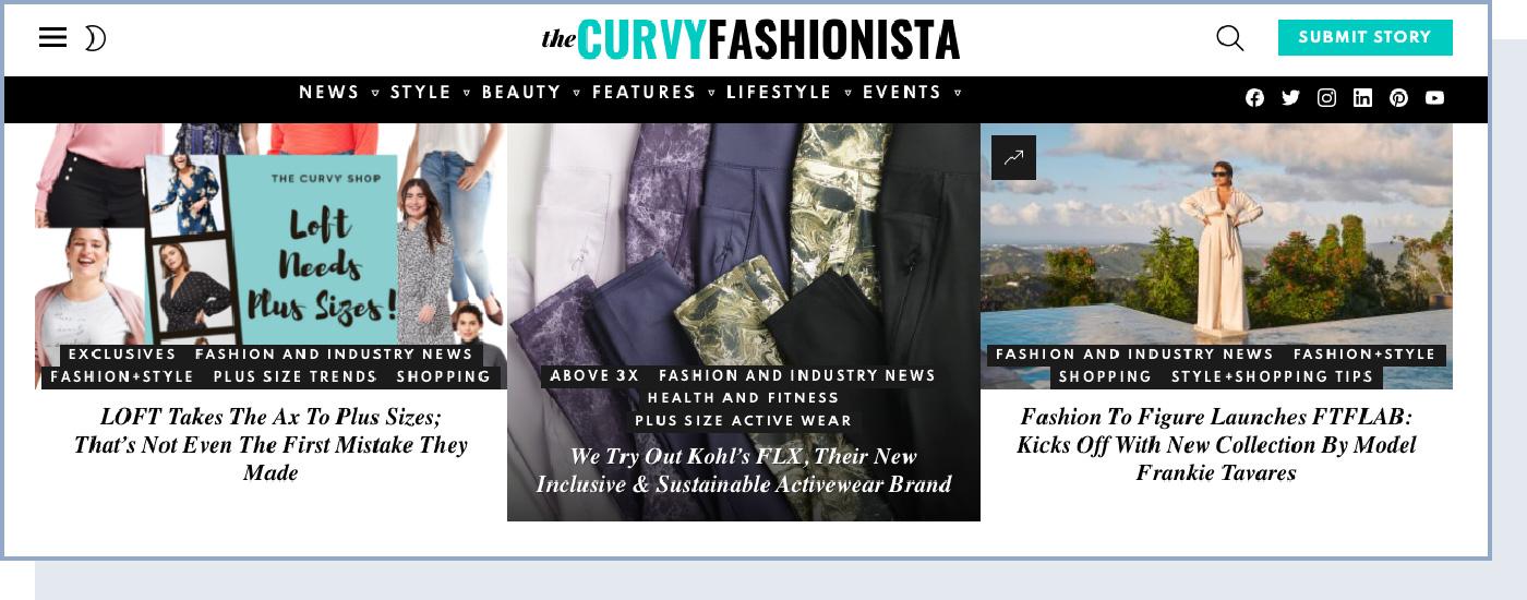 a screenshot of the Curvy Fashionista blog home page
