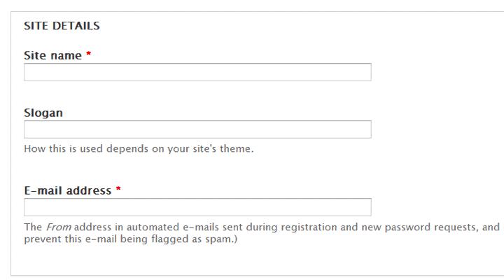Drupal site details