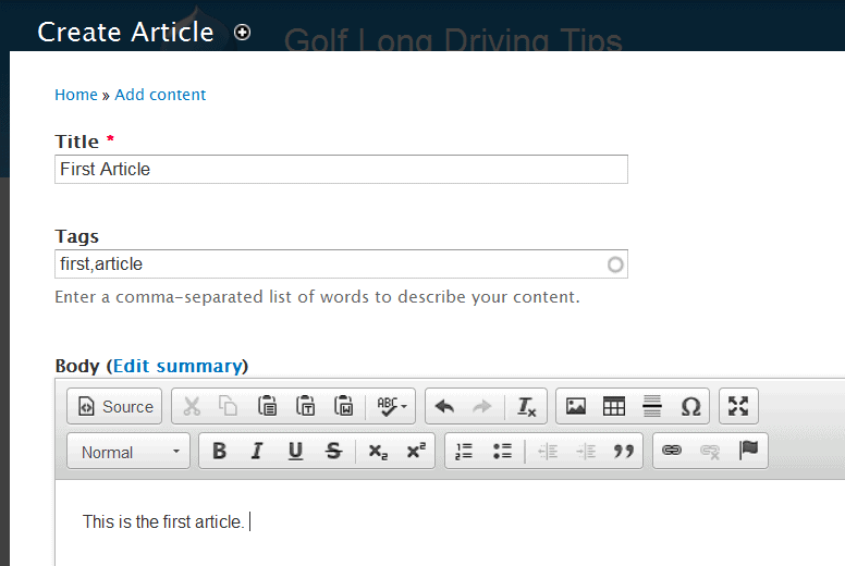 Create article in Drupal