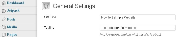 General website settings