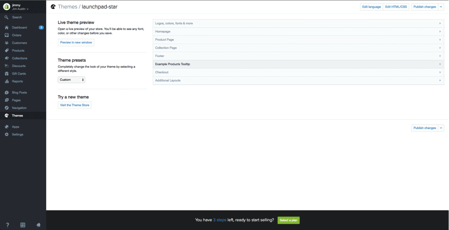 shopify custom theme settings