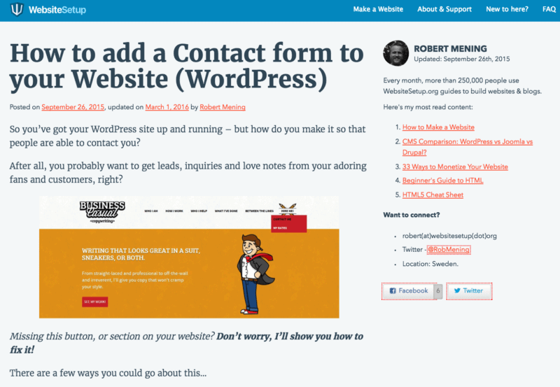 'blog page': built with WordPress