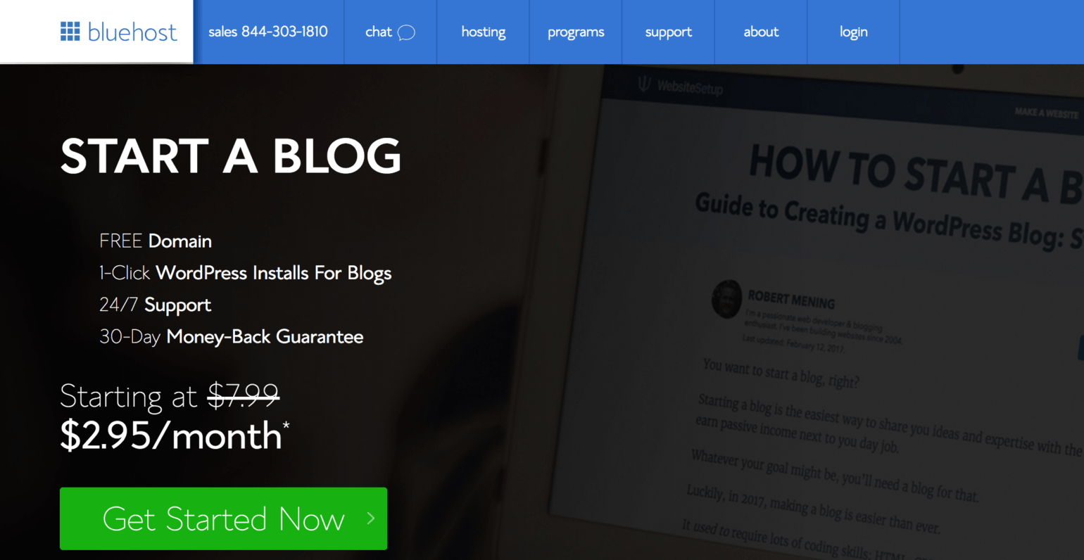 To build and promote a website and save it with the free information - Bluehost