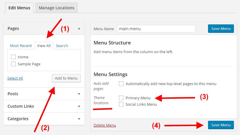 WordPress add menu