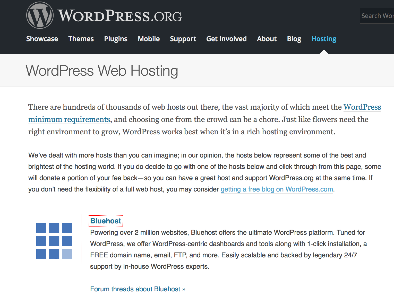 WordPress.org recommends bluehost