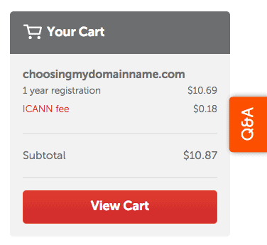 Add domain name to cart (namecheap)