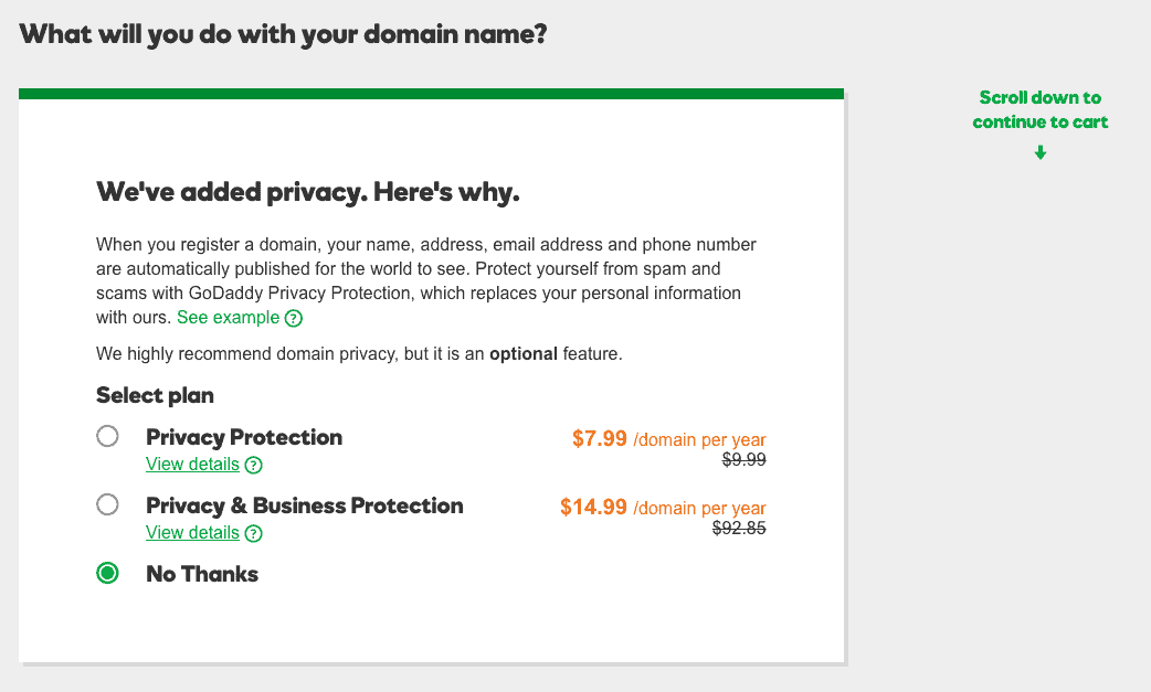 Domain name privacy is optional