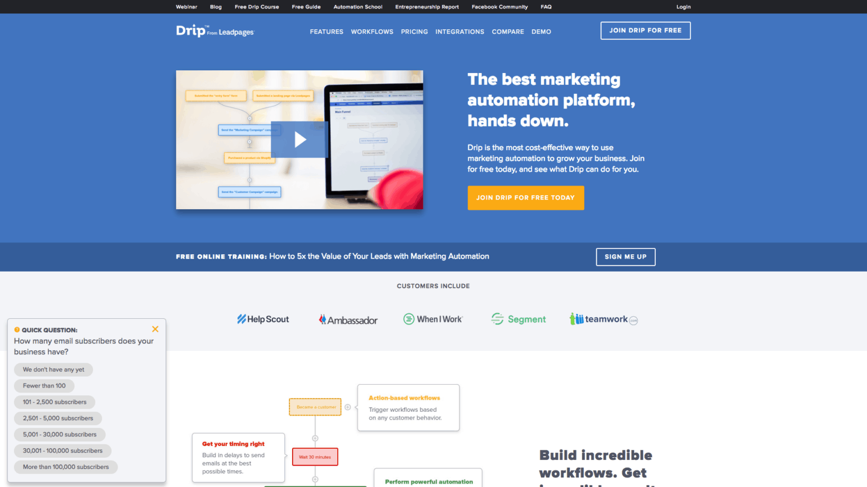 Drip homepage