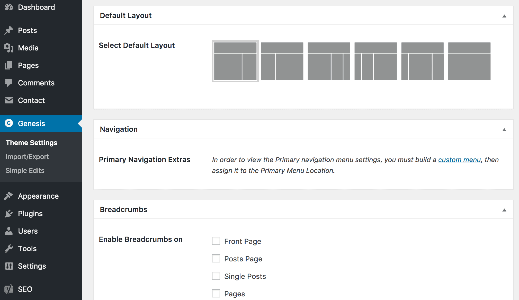 WordPress theme settings