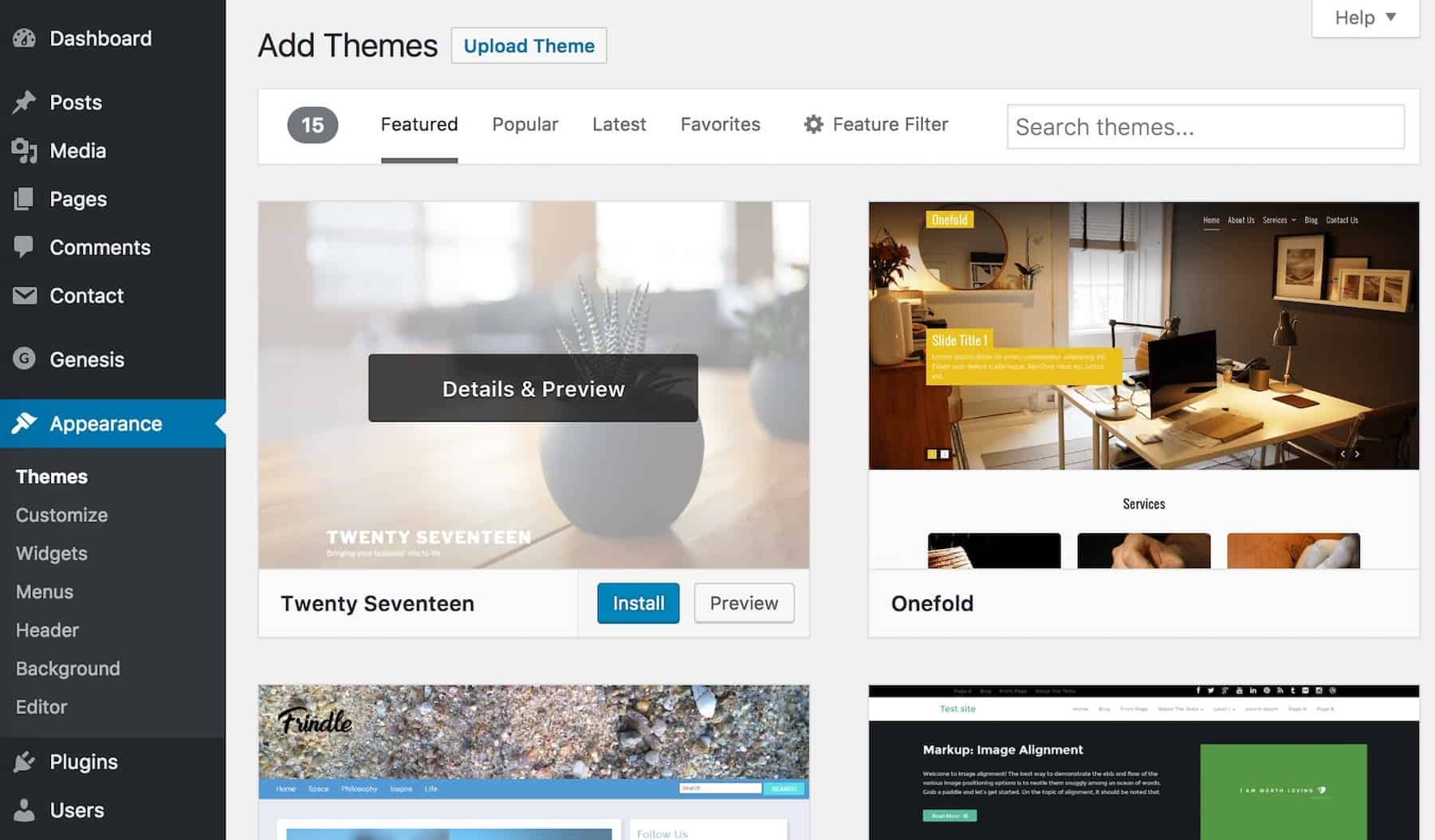 install WordPress themes