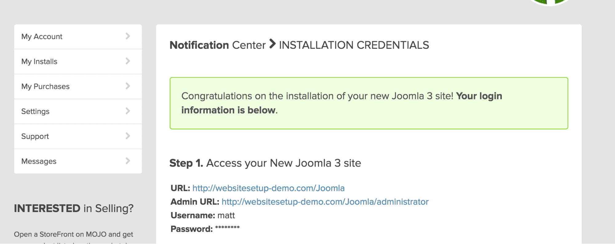 Bluehost WordPress Joomla notification center