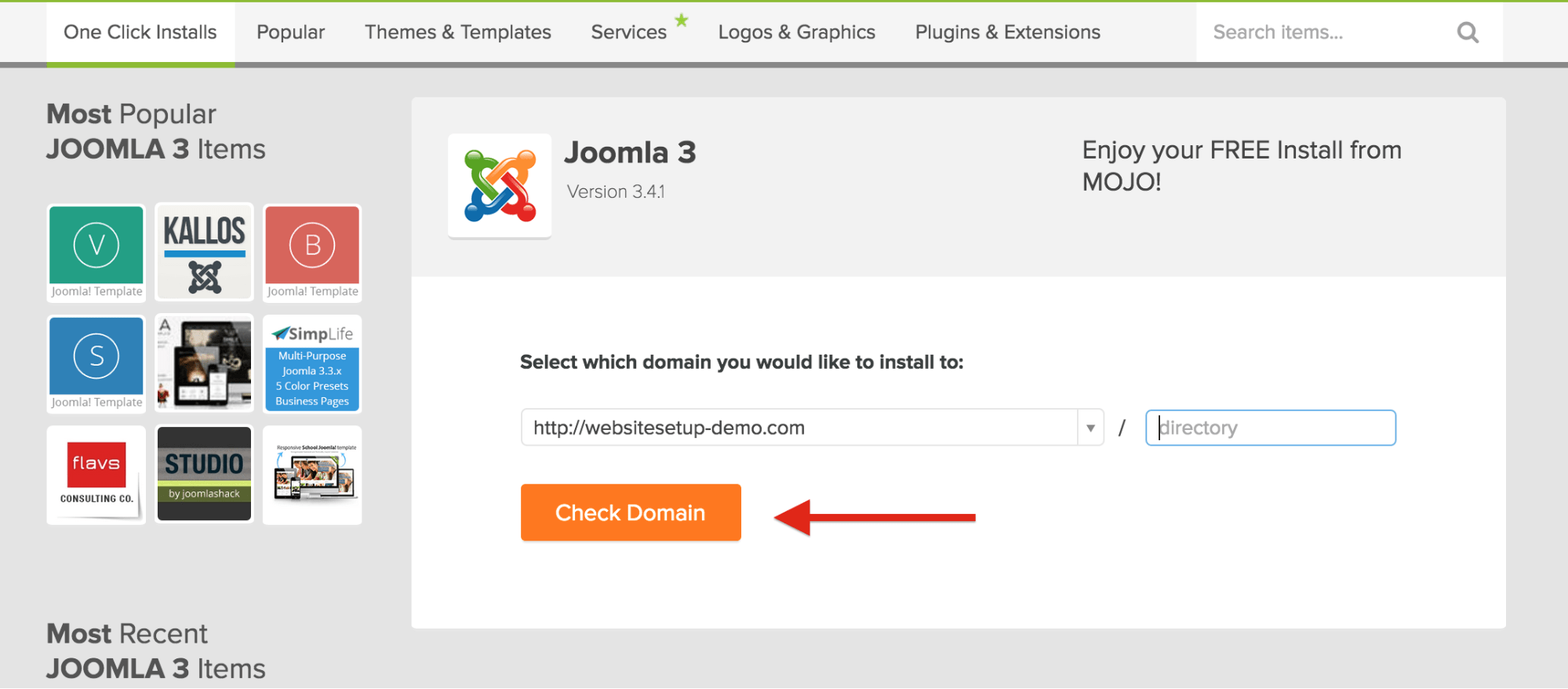 Bluehost WordPress Joomla select domain