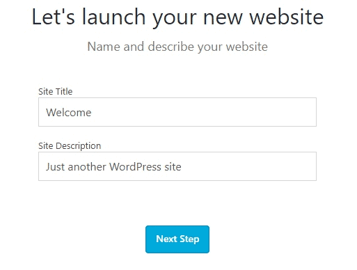 Bluehost WordPress Site Title and Site Description