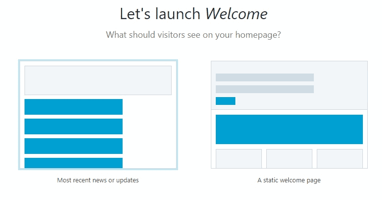 Bluehost WordPress welcome page most recent news and updates or a static