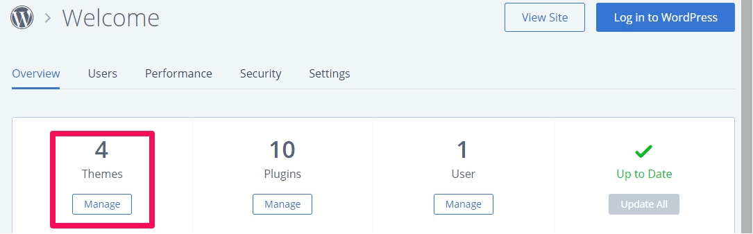 Bluehost WordPress manage themes