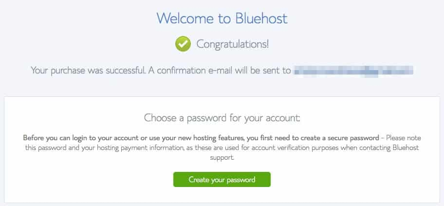 Bluehost successful purchase