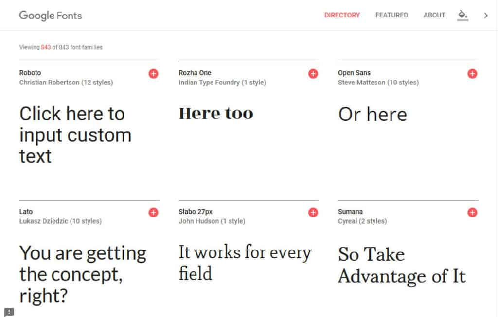 edit sample text in google fonts