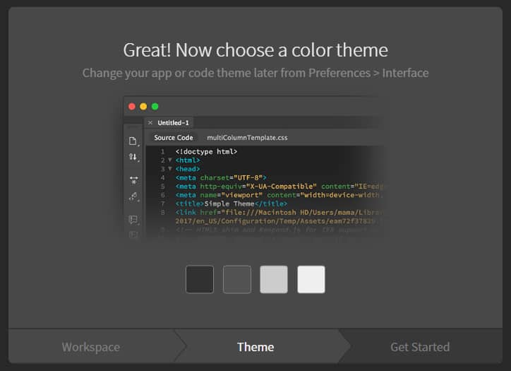 dreamweaver onboarding guide choose color scheme