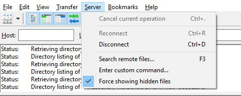 force show hidden files in filezilla to back up wordpress