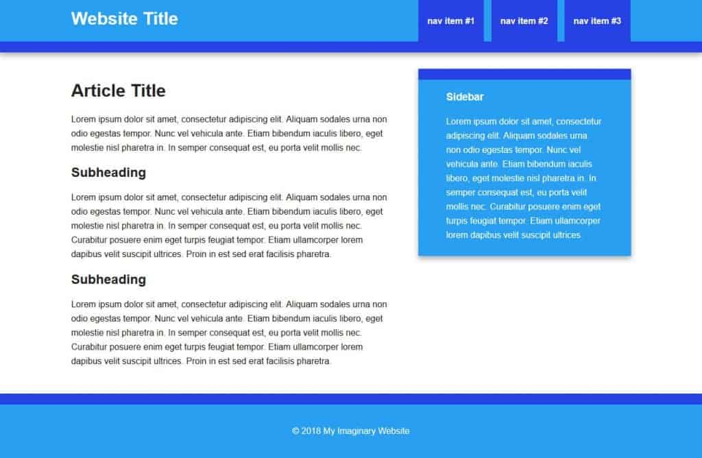 html to wordpress example page