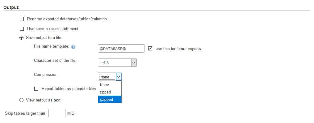 phpmyadmin database export output section