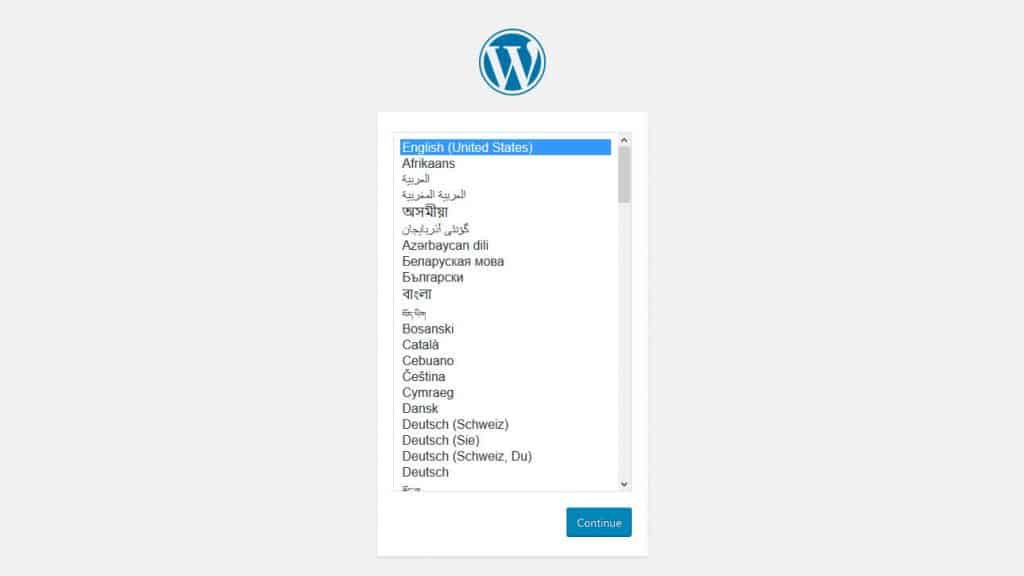 install wordpress in your language