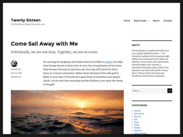 default WordPress blog