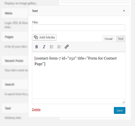 add contact form to wordpress widget