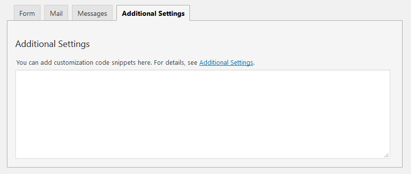 contact form 7 additional settings
