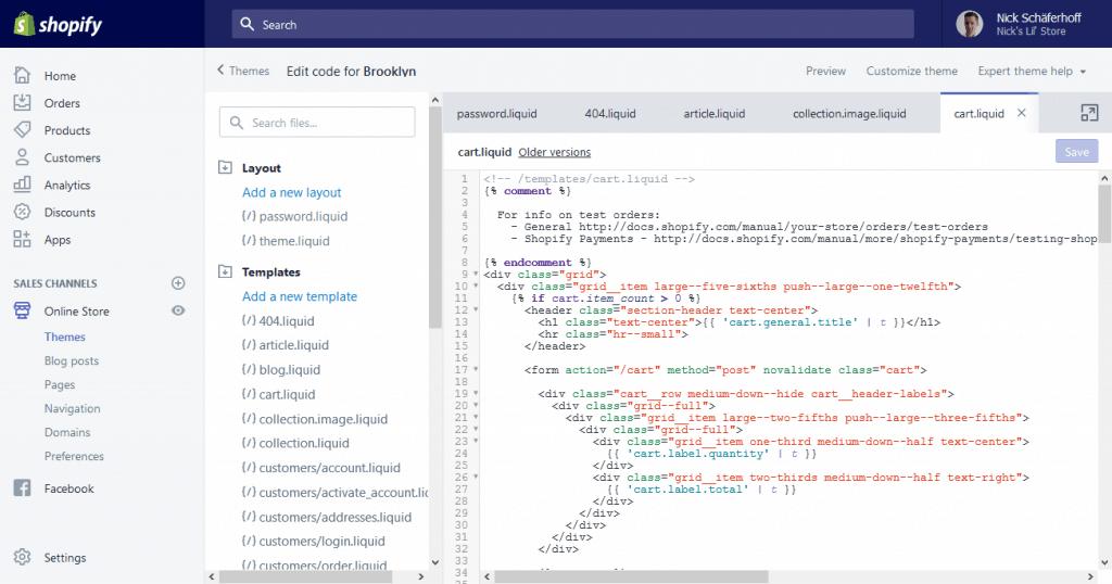 Editing Shopify theme files