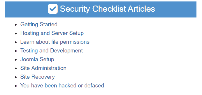 joomla security checklist