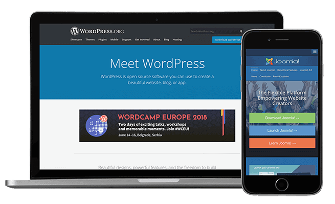 cms platforms wordpress joomla
