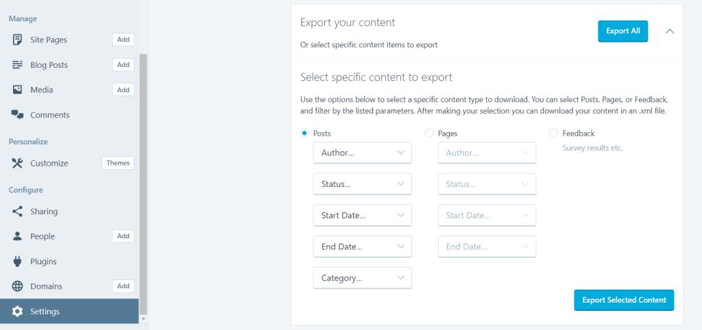 export wordpress.org content