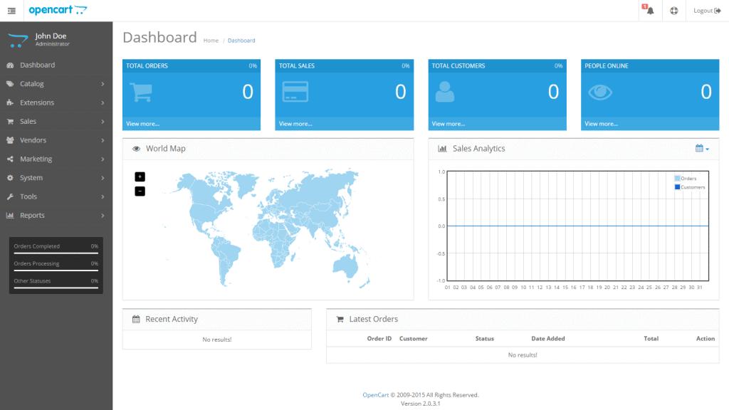 admin interface dashboard