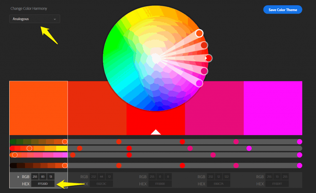 Adobe color wheel to generate color scheme ideas