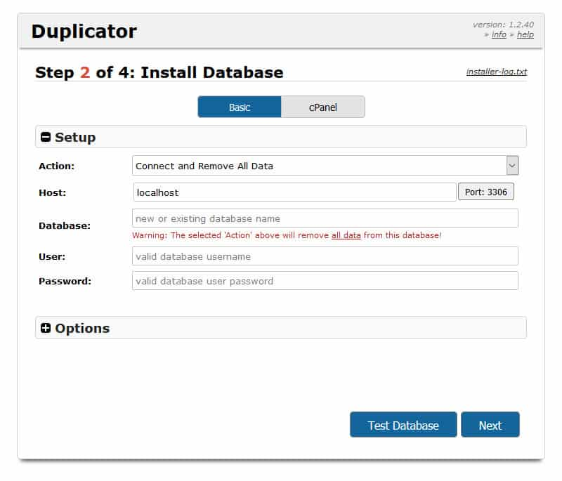duplicator deployment step 2