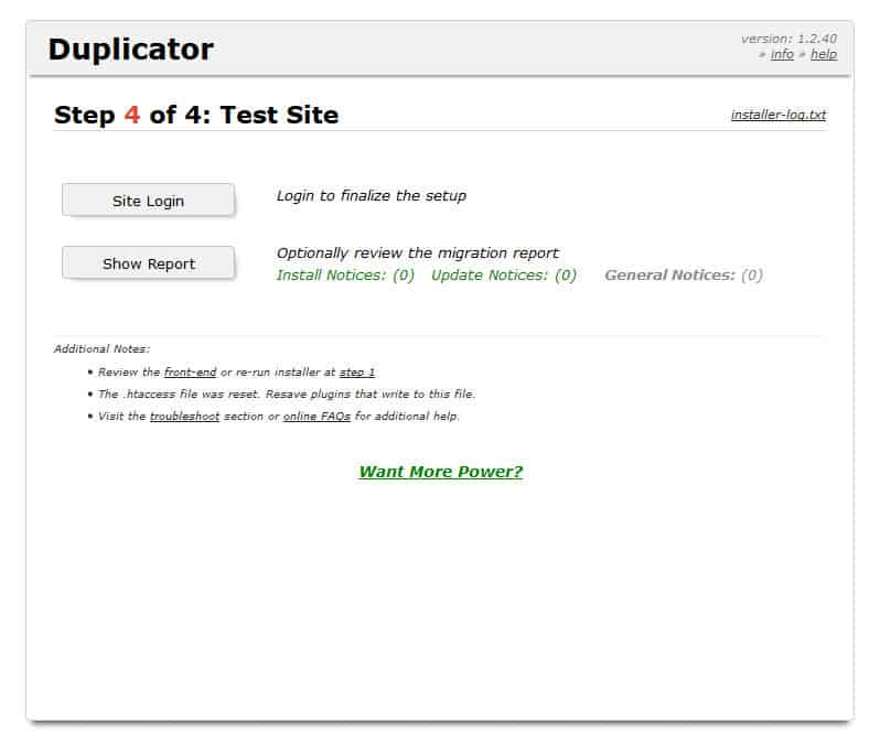 duplicator deployment step 4