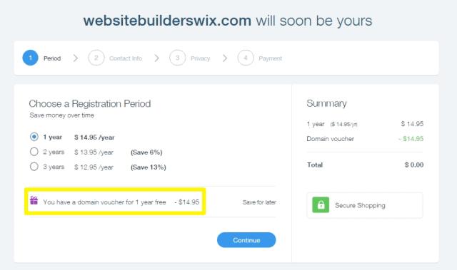 wix domain checkout process