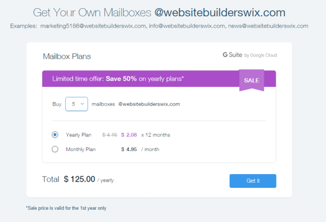 cost of mailboxes on wix