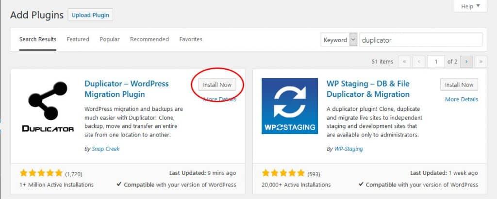 install duplicator to switch web hosts