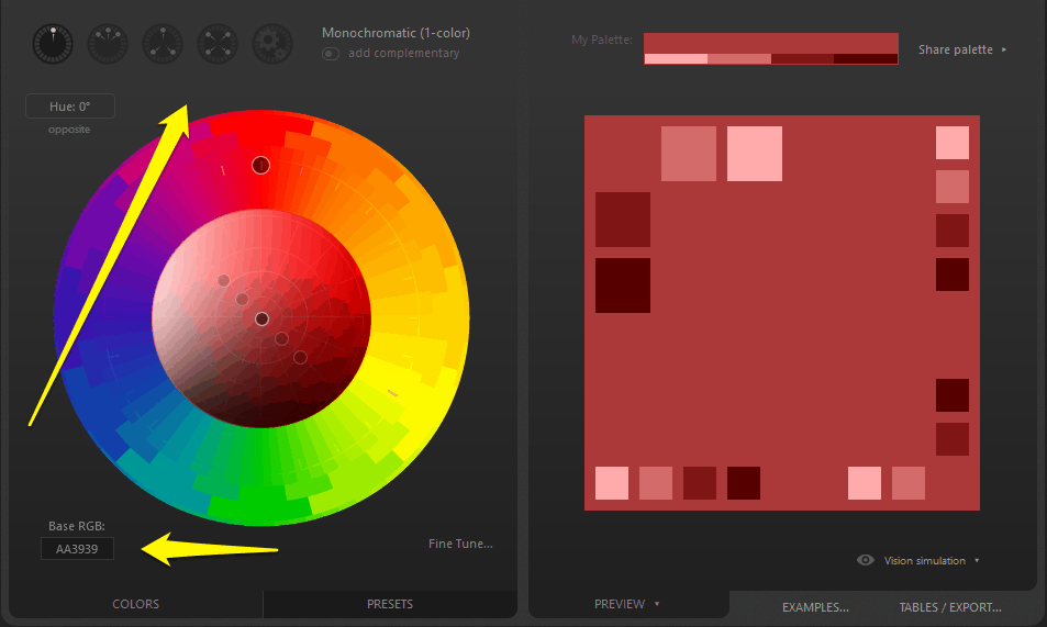 Paletton tool to create website color schemes