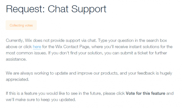 no wix chat support
