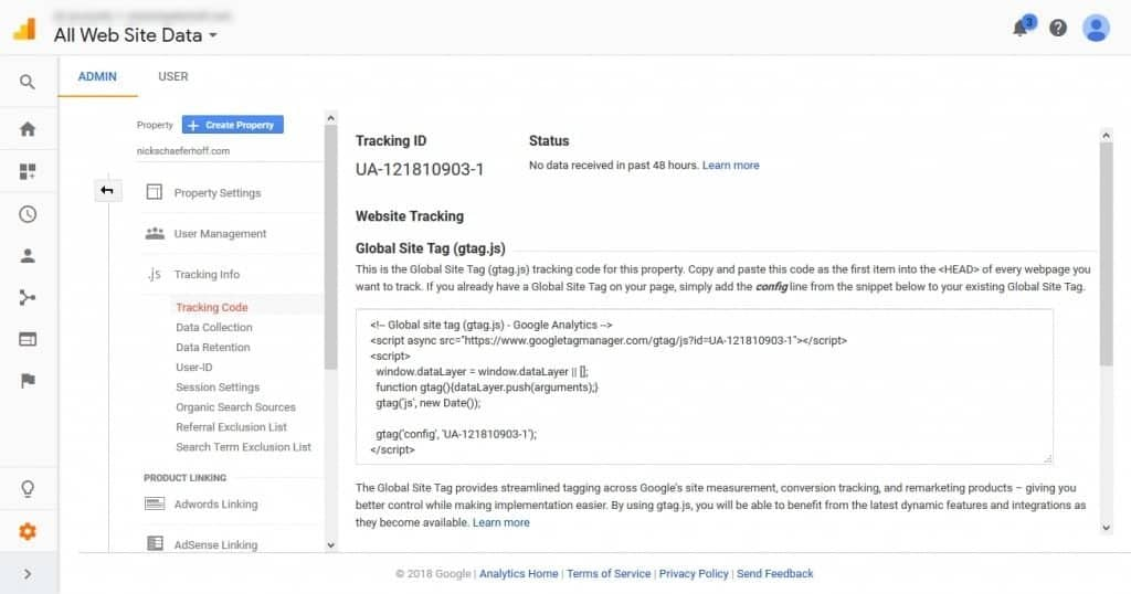 Google Analytics tracking code and ID