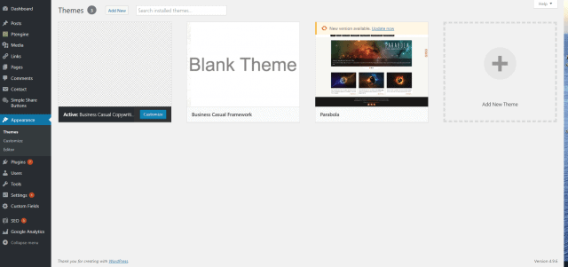 WordPress Themes Screen