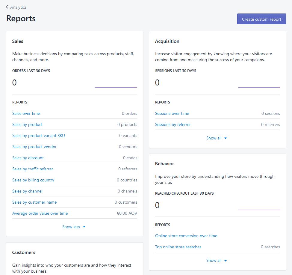 Shopify analytics reports