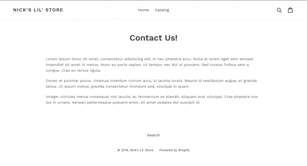 Shopify sample page