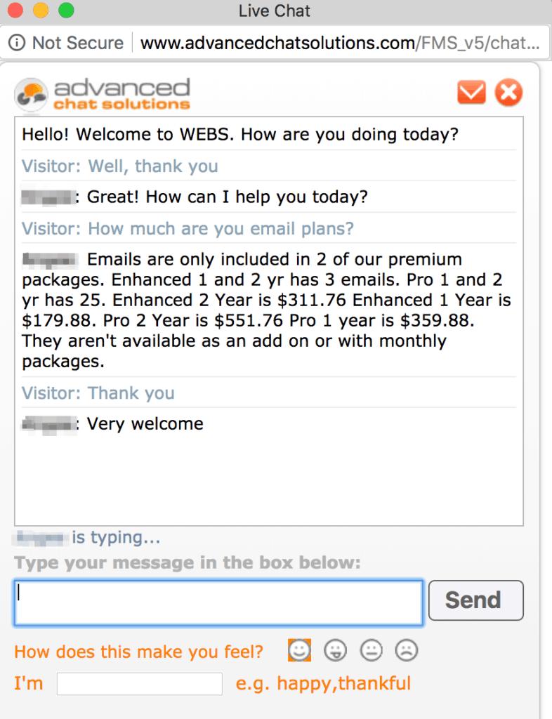 Webs live chat