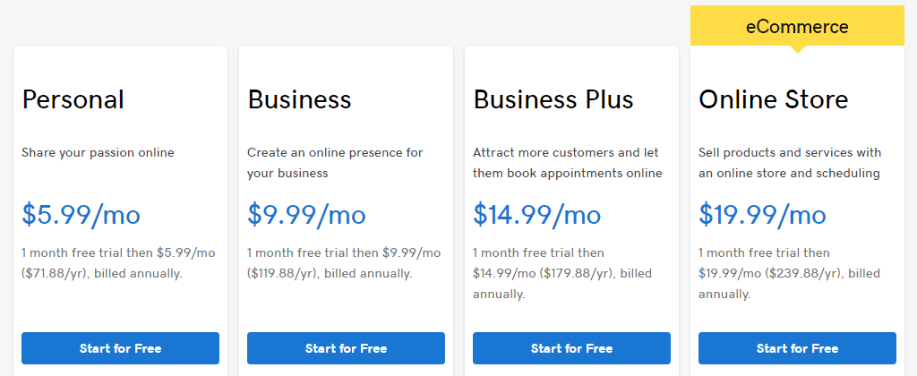 GoDaddy Website Builder Pricing