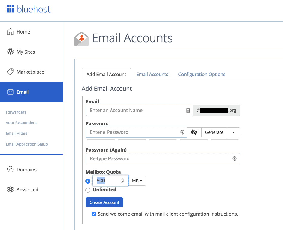 Create email accounts for your domain name with Bluehost