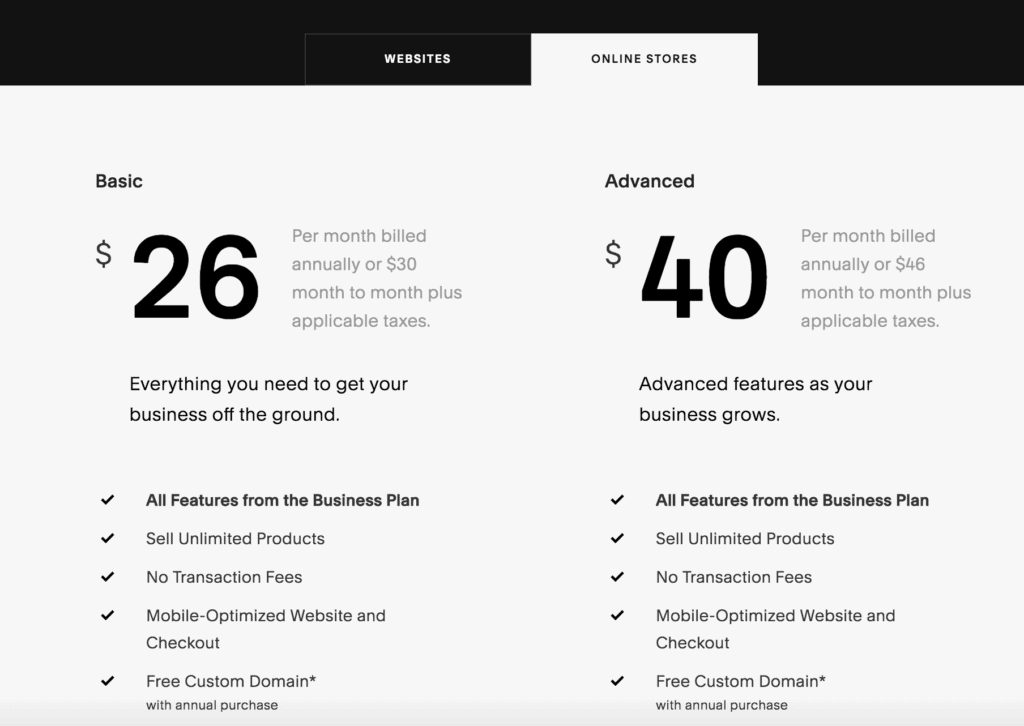 squarespace cost